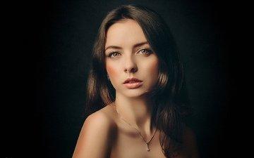 девушка, фон, портрет, взгляд, модель, волосы, черный фон, лицо, макияж, оля, sergey gaponenko, сергей гапоненко