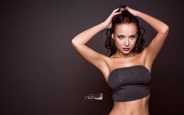 girl, background, brunette, model, red lipstick, angelina petrova, hands on head