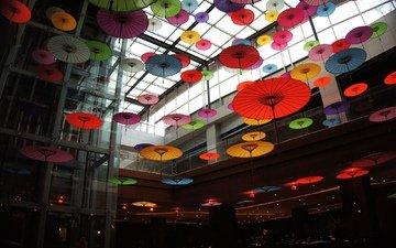 лифт, интерьер, зонтики, японские зонтики