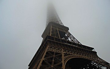fog, paris, france, eiffel tower