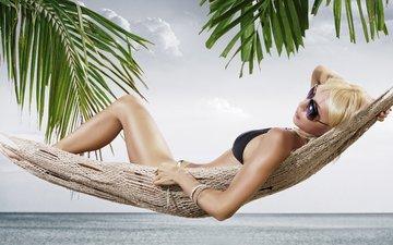 girl, blonde, glasses, model, hammock