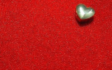текстура, сердечко, сердце, ткань, красный фон