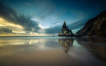 небо, облака, скалы, берег, море, песок, пляж, горизонт, португали, морской пейзаж, marco lemos, ursa beach