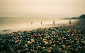 природа, камни, берег, галька, пейзаж, море, пляж, горизонт