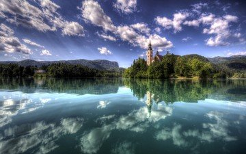 the sky, clouds, lake, reflection