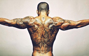 back, tattoo, muscle