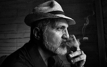 portrait, look, black and white, profile, male, hat, cigar, beard