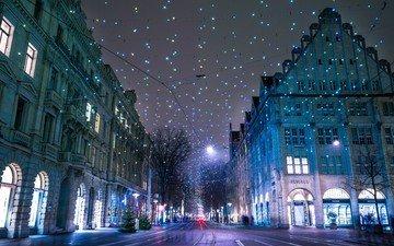 ночь, зима, город, швейцария, гирлянды, рождество, цюрих