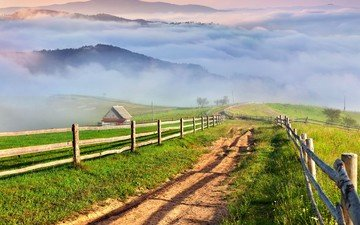 mountains, fog, fence