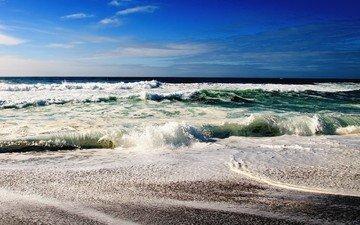 небо, берег, волны, море, горизонт, океан, прибой, камешки
