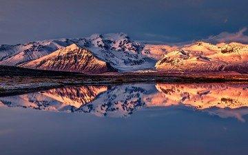небо, озеро, горы, снег, природа, закат, отражение, снежные вершины