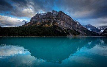 небо, облака, озеро, горы, лес, канада, вершина горы