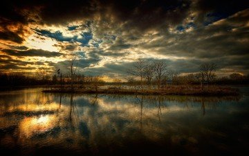 небо, облака, озеро, тучи, отражение, пейзаж, горизонт, рассвет