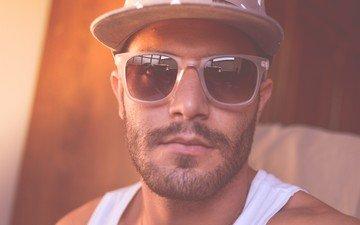 портрет, усы, взгляд, очки, лицо, мужчина, борода, солнечные очки