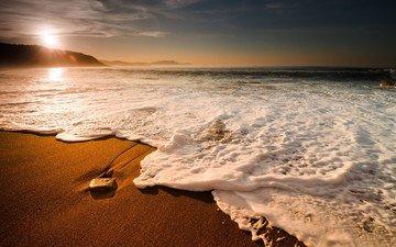 солнце, природа, берег, волны, песок, пляж, горизонт, камень, морская пена