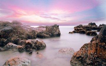 небо, облака, скалы, природа, камни, берег, закат, пейзаж, море, горизонт