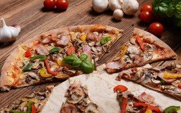 зелень, грибы, колбаса, помидоры, оливки, перец, пицца, начинка, чеснок