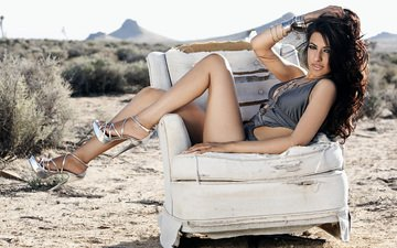 girl, brunette, model, legs, chair, swimsuit, photoshoot, sitting, high heels, hands in hair, hands on head, ruvi bazaz