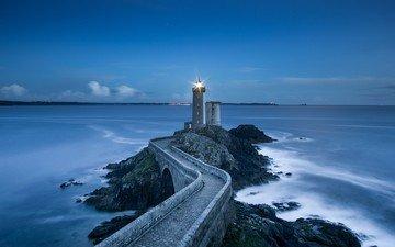 пейзаж, море, маяк, мост, ландшафт