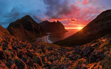 mountains, sunset, sea, mountain landscape