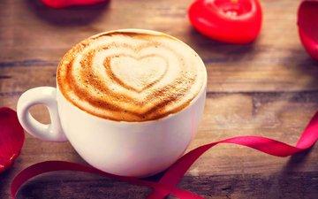 свечи, цветок, роза, лепестки, кофе, чашка, лента, пена, капучино