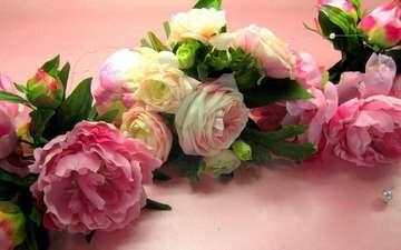 цветы, листья, розы, лепестки, букет, пионы