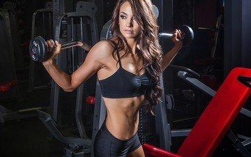 девушка, модель, фитнес, спортзал, тренировки, тренажерный зал, силовые нагрузки