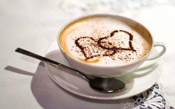 узор, кофе, блюдце, чашка, салфетка, сердечки, ложка, капучино, пенка