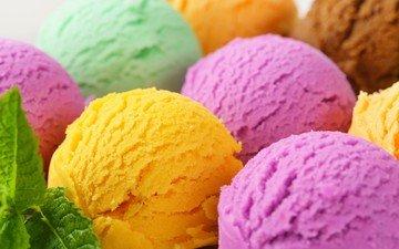 мята, мороженое, разноцветные, шарики, сладкое, десерт
