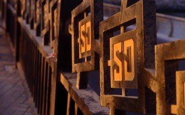 забор, буквы, ограждение, металлический, символы