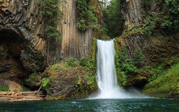 водопад, сша, штат орегон, токети фолс