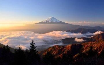 небо, облака, природа, пейзаж, япония, солнечный свет, гора фудзи