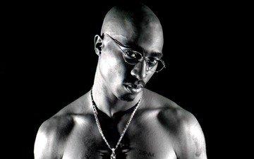 портрет, музыка, очки, актёр, чёрно-белый, певец, музыкант, тупак шакур, рэпер, автор песен