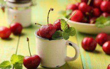 мята, доски, черешня, кружка, ягоды, вишня, миска
