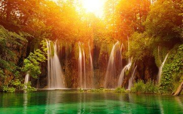 водопад, джунгли