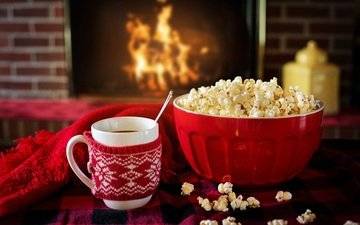 coffee, mug, fireplace, cup, tea, popcorn, tea.fireplace
