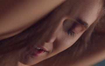 девушка, портрет, лицо, закрытые глаза, крупным планом