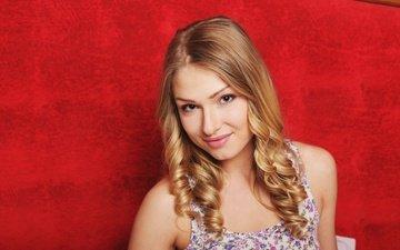 девушка, блондинка, улыбка, портрет, взгляд, модель, лицо, lucy heart, люси харт