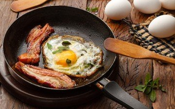 завтрак, яичница, бекон