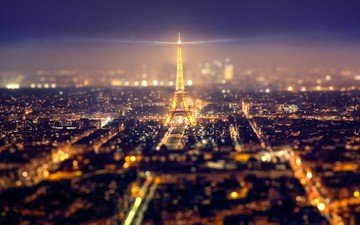 ночь, огни, город, париж, франция, эйфелева башня