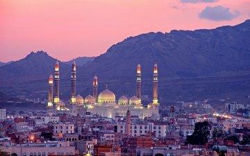закат, город, мечеть, сана, йемен, мечеть аль-салех