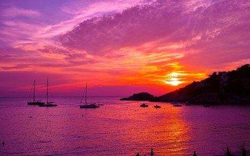 clouds, nature, sunset, sea, yacht, spain, ibiza