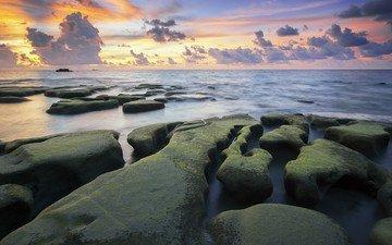 небо, облака, восход, природа, камни, берег, море, горизонт, залив, океан, мох, мыс