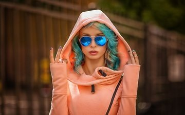 portrait, sunglasses, ekaterina enokaeva, colored hair, pavel mylnikov