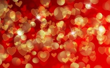 abstraction, background, graphics, hearts, bokeh, 3d