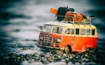 макро, игрушка, автобус