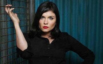 brunette, lips, actress, blue eyes, red lipstick, jodi lyn o'keefe