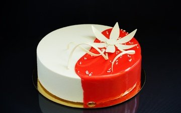 цветок, черный фон, сладкое, украшение, торт, десерт