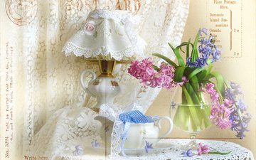 flowers, lamp, glass, napkin, tape, still life, lace, curtain, hyacinths