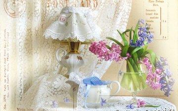 цветы, лампа, бокал, салфетка, ленты, натюрморт, кружево, занавеска, гиацинты
